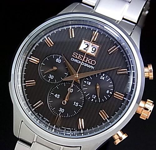 SEIKO/Chronograph【セイコー/クロノグラフ】メンズ腕時計 メタルベルト グレー/ピンクゴールド文字盤 SPC151P1 海外モデル【並行輸入品】