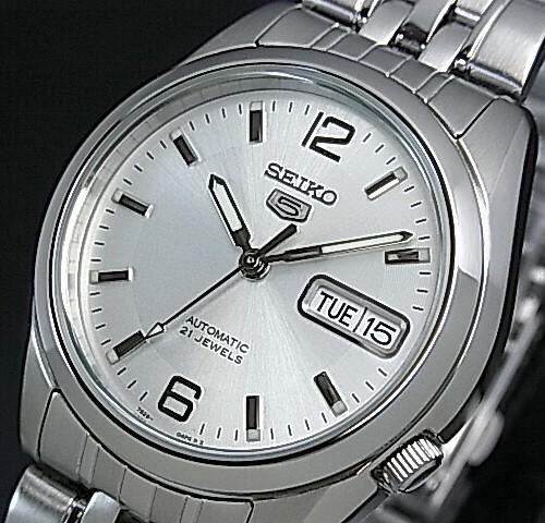 SEIKO/SEIKO5【セイコー5/セイコーファイブ】自動巻 メンズ腕時計 メタルベルト シルバー文字盤 SNK385K1 海外モデル【並行輸入品】