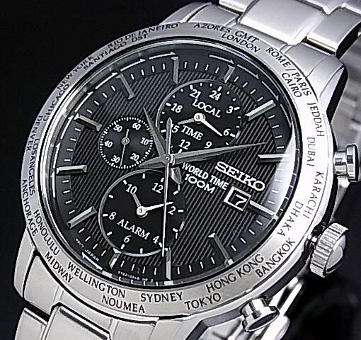 SEIKO/WORLD TIME【セイコー/ワールドタイム】メンズ腕時計 アラーム ブラック文字盤 メタルベルト SPL049P1 海外モデル【並行輸入品】