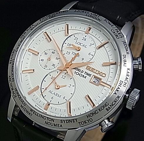SEIKO/WORLD TIME【セイコー/ワールドタイム】メンズ腕時計 アラーム シルバー文字盤 ブラックレザーベルト SPL053P1 海外モデル【並行輸入品】