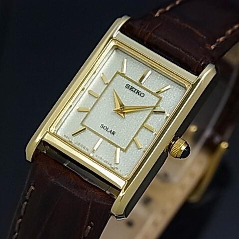 SEIKO/ソーラー時計【セイコー】レディース腕時計 ゴールドケース ブラウンレザーベルト シャンパン文字盤 SUP252P1 海外モデル【並行輸入品】