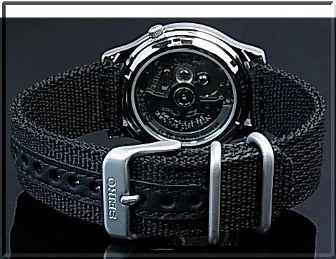 SEIKO/SEIKO5 자동 권 남자 시계 블랙 나일론 벨트 블랙 문자판 SNKN33K1 (해외 모델)