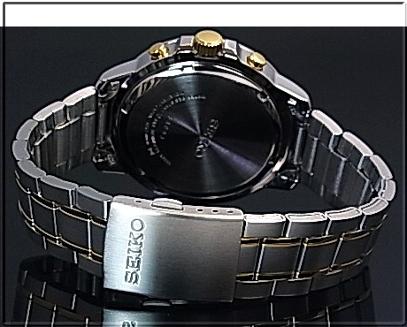 SEIKO/Chronograph mens watch Combi metal belts Silver / Gold letter Edition SKS447P1 (overseas model)