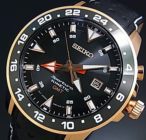 SEIKO/Sportura mens watch kinetic GMT pink gold case black letter Edition black leather belt SUN028P1 (overseas model)