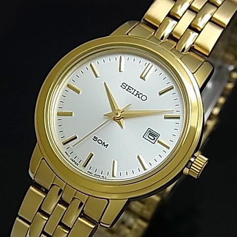 SEIKO/Quartz【セイコー/クォーツ】レディース腕時計 ゴールドメタルベルト シルバー文字盤 SUR824P1 海外モデル【並行輸入品】