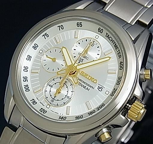 SEIKO/Chronograph【セイコー/クロノグラフ】メンズ腕時計 シルバー/ゴールド文字盤 メタルベルト SNDC95P1 海外モデル【並行輸入品】