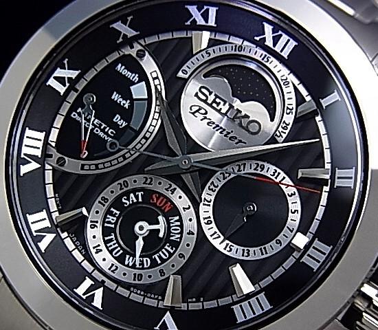 SEIKO/Premier 다이렉트 드라이브 キネテック 크 남자 시계 블랙 문자판 메탈 벨트 SRX013P1 (해외 모델)