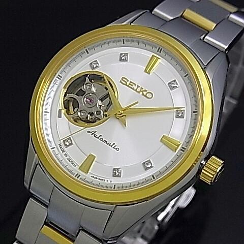 SEIKO/Presage メカニカル【セイコー/プレサージュ】自動巻 レディース腕時計(ボーイズサイズ) シルバー文字盤 コンビメタルベルト SSA868J1 Made in Japan 海外モデル【並行輸入品】