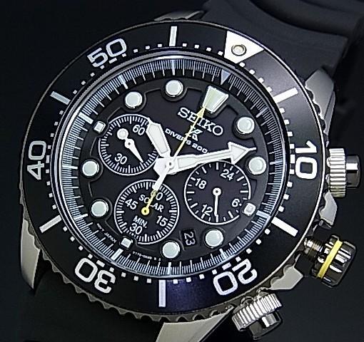 SEIKO/PROSPEX【セイコー/プロスペックス】メンズ DIVER'S/ダイバーズウォッチ クロノグラフ ソーラー腕時計 ブラックベゼル ラバーベルト ブラック文字盤 SSC021P1 海外モデル【並行輸入品】
