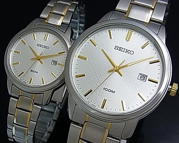 SEIKO/Quartz 여성용 시계 콤 비 메탈 벨트 실버 문자판 SUR745P1 해외 모델