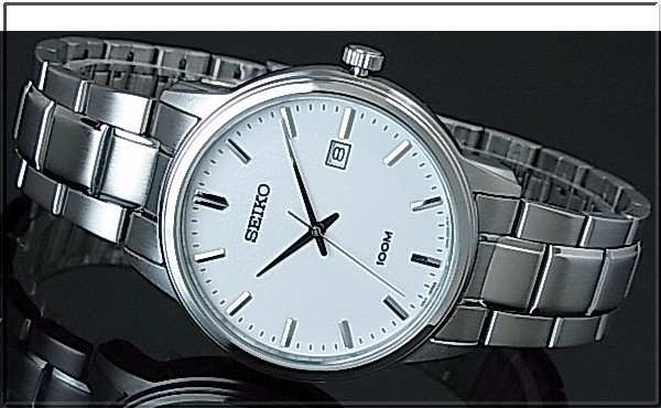 SEIKO/Quartz 페어 워치 시계 메탈 벨트 화이트 다이얼 SUR191P1/SUR751P1 해외 모델
