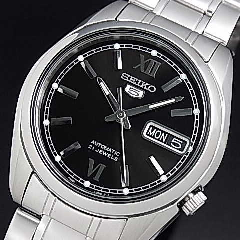 SEIKO/SEIKO5【セイコー5/セイコーファイブ】自動巻 メンズ腕時計 メタルベルト ブラック文字盤 SNKL55K1 海外モデル【並行輸入品】