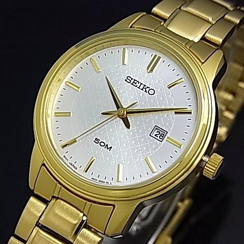 SEIKO/Quartz【セイコー/クォーツ】レディース腕時計 ゴールドメタルベルト シルバー文字盤 SUR744P1 海外モデル【並行輸入品】