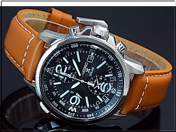 011359df3 ... SEIKO/PROSPEX Men's solar watch chronograph brown Leather strap black  dial SSC081P1 reverse import model ...