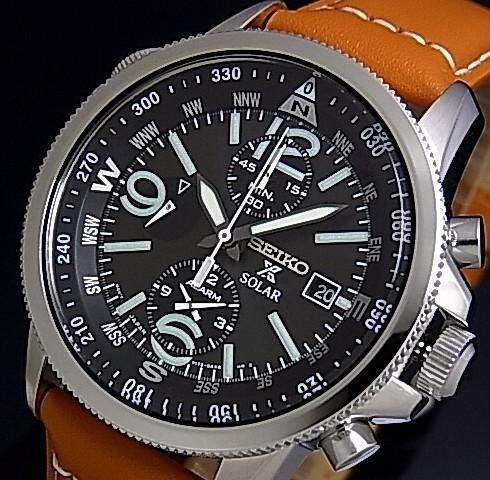 SEIKO/PROSPEX【セイコー/プロスペックス】メンズ ソーラー腕時計 アラームクロノグラフ ブラウンレザーベルト ブラック文字盤 SSC081P1 海外モデル【並行輸入品】