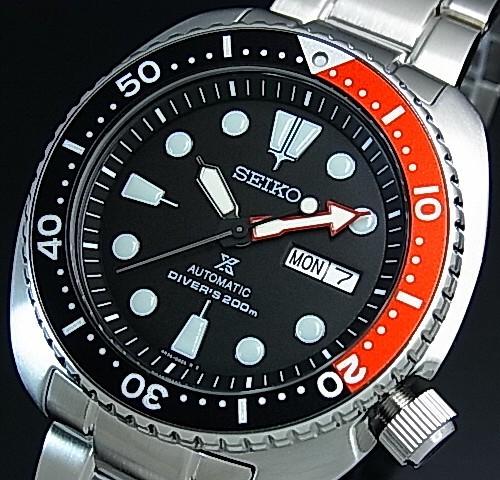 Seiko/PROSPEX/200 m diver's watch automatic winding black / red bezel mens watch silver metal belt black letter Edition overseas model SRP789K1