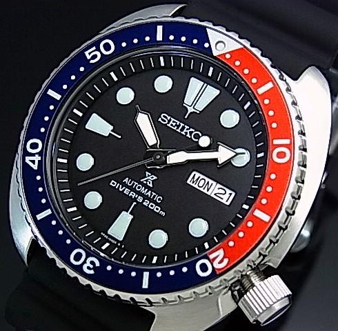 SEIKO/PROSPEX/200m diver's watch【セイコー/プロスペックス/200m防水ダイバーズ】自動巻 ネイビー/レッドベゼル メンズ腕時計 ラバーベルト ブラック文字盤 海外モデル【並行輸入品】 SRP779K1