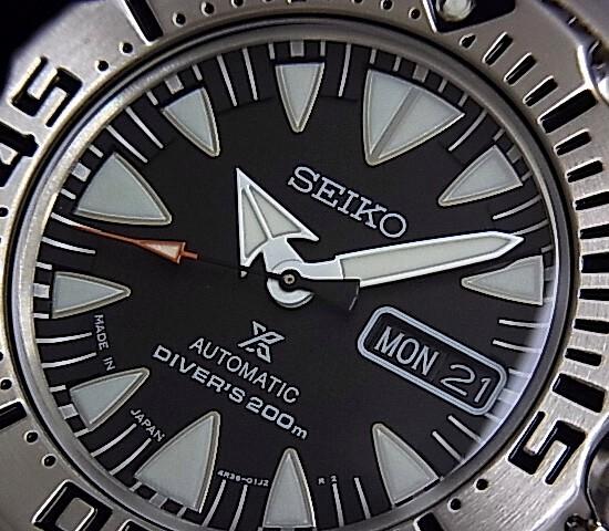 SEIKO/200 m diver's watch 자동권맨즈 손목시계 메탈 벨트 블랙 문자판 MADE IN JAPAN 해외 모델 SRP307J1