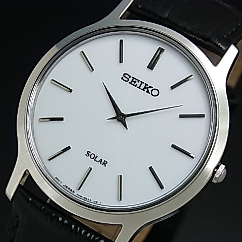 SEIKO solar watches / men's watch black leather belt white letter Board SUP873P1 overseas models