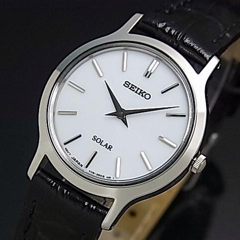 SEIKO/ソーラー時計【セイコー】レディース腕時計 ブラックレザーベルト ホワイト文字盤 SUP299P1 海外モデル【並行輸入品】