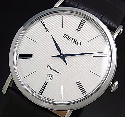 54e82a118 SEIKO/Premier Men's watch black Leather strap white Dial reverse import  model SKP395P1 ...