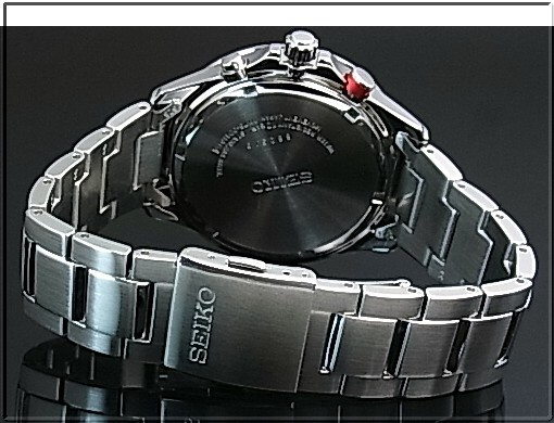 SEIKO/Chronograph 남자 태양 시계 메탈 벨트 블랙 문자판 SSC493P1 해외 모델