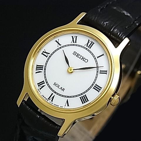 SEIKO/ソーラー時計【セイコー】レディース腕時計 ゴールドケース ブラックレザーベルト ホワイト文字盤 SUP304P1 海外モデル【並行輸入品】