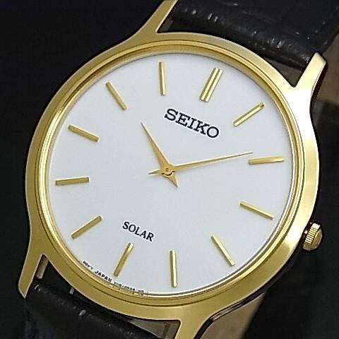 SEIKO/ソーラー時計【セイコー】メンズ腕時計 ゴールドケース ブラックレザーベルト ホワイト文字盤 SUP872P1 海外モデル【並行輸入品】