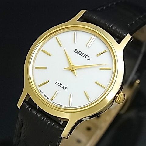SEIKO/ソーラー時計【セイコー】レディース腕時計 ゴールドケース ブラックレザーベルト ホワイト文字盤 SUP300P1 海外モデル【並行輸入品】
