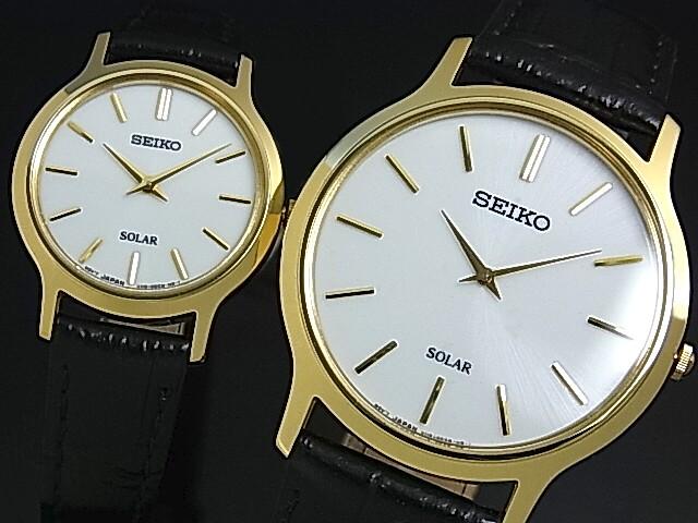 SEIKO/ソーラー時計【セイコー】ペアウォッチ 腕時計 ゴールドケース ブラックレザーベルト ホワイト文字盤 SUP872P1/SUP300P1 海外モデル【並行輸入品】