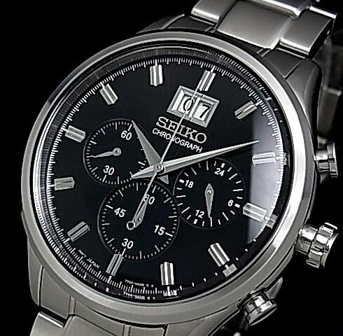 SEIKO/Chronograph【セイコー/クロノグラフ】メンズ腕時計 メタルベルト ブラック文字盤 SPC083P1 海外モデル【並行輸入品】