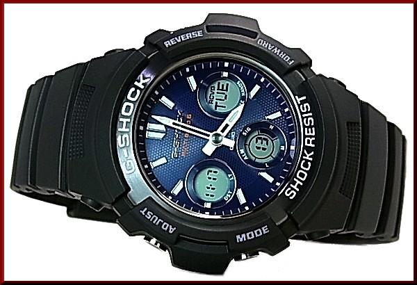 CASIO/G-SHOCK 솔 러 전파 시계 남성용 블랙/네이 비 (해외 모델) AWG-M100SB-2A