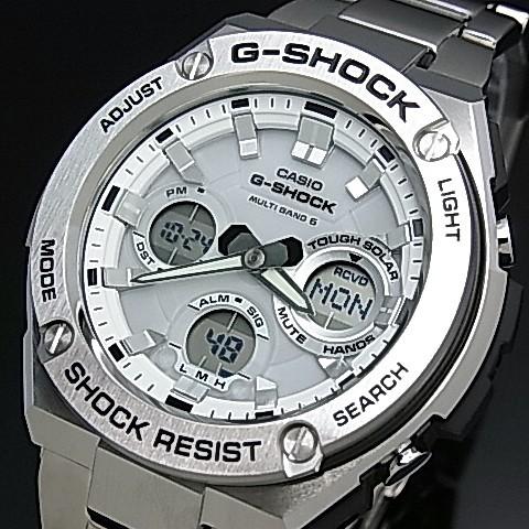 CASIO/G-SHOCK【カシオ/Gショック】G-STEEL/Gスチール ソーラー電波腕時計 メンズ ホワイト文字盤 メタルベルト(国内正規品)GST-W110D-7AJF
