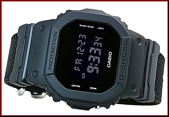 CASIO/G-SHOCKMilitary Black/ military black men watch black cross band (overseas model) DW-5600BBN-1
