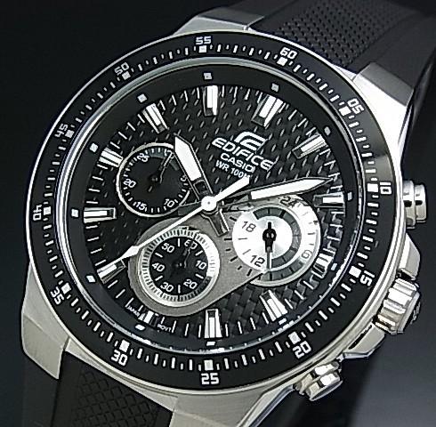 CASIO/EDIFICE【カシオ/エディフィス】クロノグラフ メンズ腕時計 ブラック文字盤 ブラックラバーベルト EF-552-1AV 海外モデル【並行輸入品】