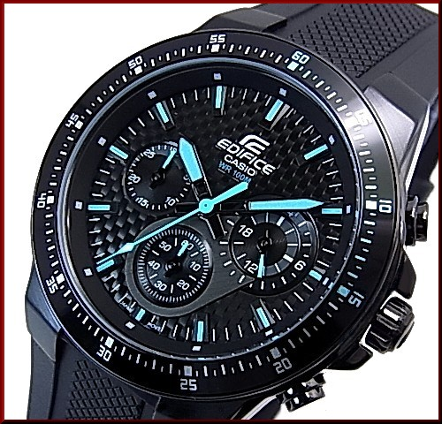 CASIO/EDIFICE chronograph men's watch black / blue character dial black rubber belts EF-552PB-1 A2V overseas models