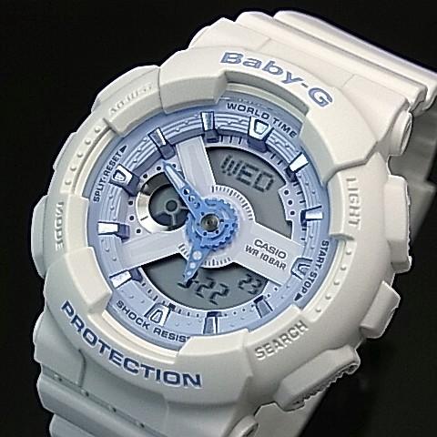 CASIO/Baby-G【カシオ/ベビーG】Beach Colors/ビーチ・カラーズ レディース腕時計 ホワイト/ライトブルー 海外モデル【並行輸入品】BA-110BE-7A