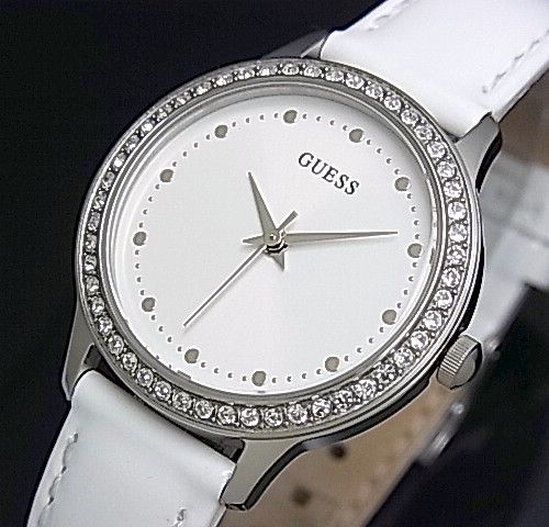 ae69f16a8 GUESS/CHELSEA ladies watch white characters Edition White leather belt  W0648L5 (Japanese regular Edition ...