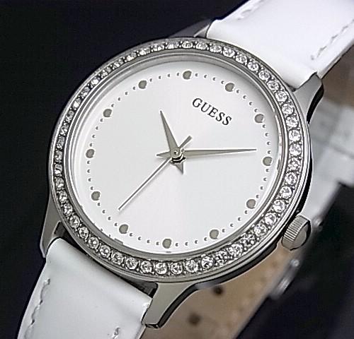 GUESS/CHELSEA【ゲス/チェルシー】レディース腕時計 ホワイト文字盤 ホワイトレザーベルト【送料無料】W0648L5(国内正規品)