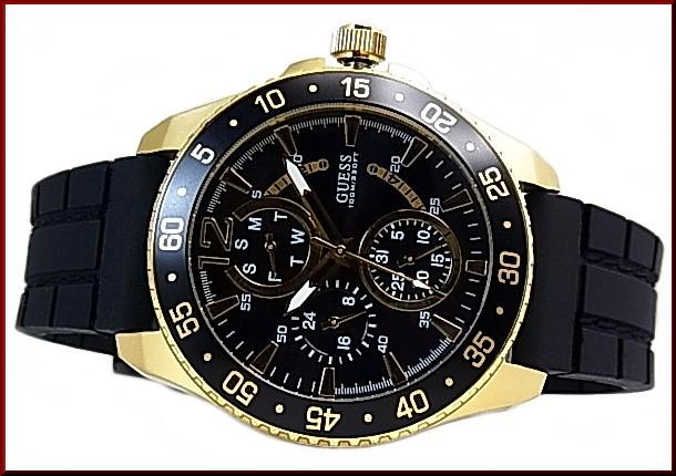 Guess Jet Mens Watch Multifunction Gold Case Black Letter Edition Black Rubber Belt W0798g3 Japanese Regular Edition