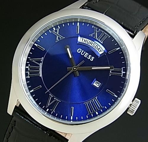 GUESS/METROPOLITAN【ゲス/メトロポリタン】メンズ腕時計 ネイビー文字盤 ブラックレザーベルト【送料無料】W0792G1(国内正規品)