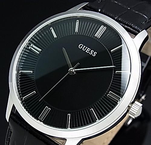 GUESS/ESCROW【ゲス/エスクロー】メンズ腕時計 ブラック文字盤 ブラックレザーベルト【送料無料】W0664G1(国内正規品)
