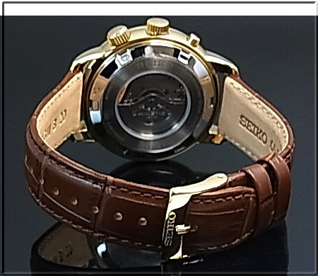 Seiko Kinetic Gmt Men S Watch Gold Case Silver Dial Brown Leather Strap Reverse Import Model Sun070p1