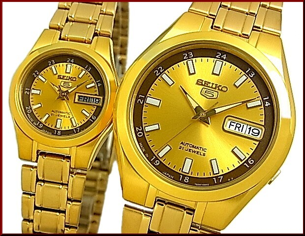 2b1b37de1 BRIGHT: SEIKO/SEIKO5 Automatic Men's watch gold Stainless steel band ...