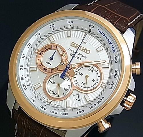 SEIKO/Chronograph【セイコー/クロノグラフ】メンズ腕時計 ブラウンレザーベルト シルバー/ピンクゴールド文字盤 SSB250P1 海外モデル【並行輸入品】