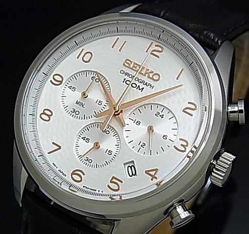SEIKO/Chronograph【セイコー/クロノグラフ】メンズ腕時計 ブラックレザーベルト シルバー/ピンクゴールド文字盤 SSB227P1 海外モデル【並行輸入品】