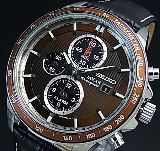 SEIKO/Alarm Chronograph【セイコー/アラームクロノグラフ】メンズ ソーラー腕時計 ブラックレザーベルト ブラウン文字盤 SSC503P1 海外モデル【並行輸入品】