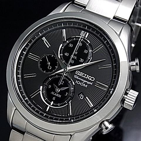 SEIKO/Alarm Chronograph【セイコー/アラームクロノグラフ】メンズ腕時計 ブラック文字盤 メタルベルト SNAF67P1 海外モデル【並行輸入品】