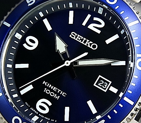 SEIKO/KINETIC men watch navy clockface metal belt (overseas model) SKA745P1