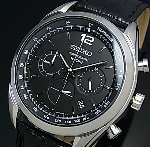 Seiko Chronograph Men S Watch Black Leather Strap Black Dial Ssb097p1 Reverse Import Model